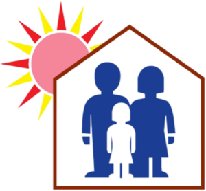 Logo Of New Way Day Services Showing Family In A House Under Sun